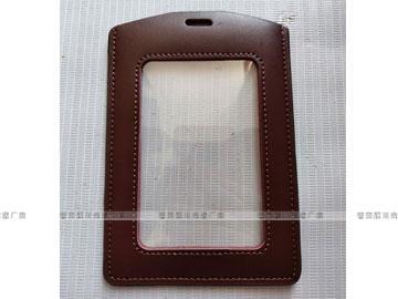 雙麪透明卡位工作証皮套,掛繩証件皮